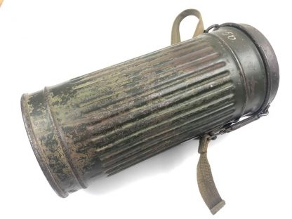 Original WWII German camouflage gasmask canister with mask