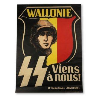 Original WWII Belgian Waffen-SS Wallonie volunteer poster