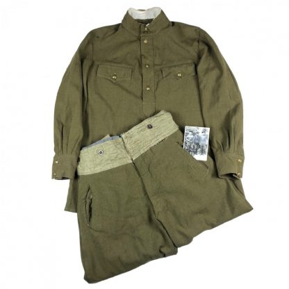 Original WWII Russian M43 Gymnasterka with trousers (Lend Lease) and photo of owner
