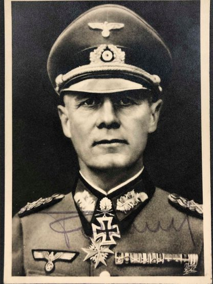 Original WWII German autograph fieldMarshallErwin Rommel