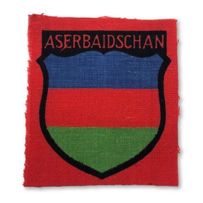 Original WWII German foreign volunteer shield Aserbaidschan Origineel WWII Duits vrijwilligers schildje Aserbaidschan