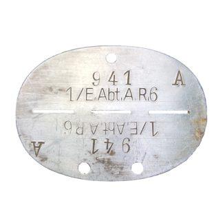Original WWII German Erkennungsmarke 'Ersatz-Abteilung-Artillerie-Regiment 6'