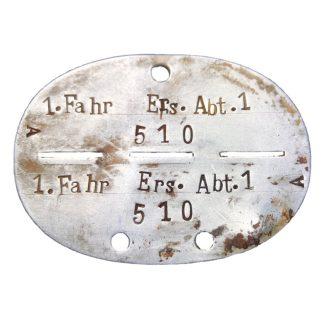 Original WWII German Erkennungsmarke 'Fahr-Ersatz-Abteilung 1' Originele WWII WH Duitse erkennungsmarke 1.Fahr-Ersatz-Abteilung 1