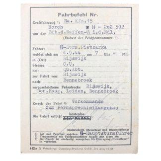 Original WWII German Waffen-SS 'Fahrbefehl' Rijswijk - Bennebroek