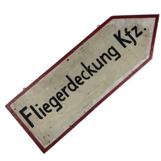 Original WWII German wooden sign 'Fliegerdeckung Kfz.'