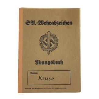 riginal WWII German SA-Wehrabzeichen Übungsbuch SS-Ausbildungslager Avegoor (Netherlands)