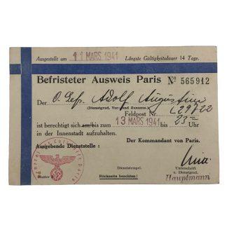 Original WWII German Ausweis Paris (France)