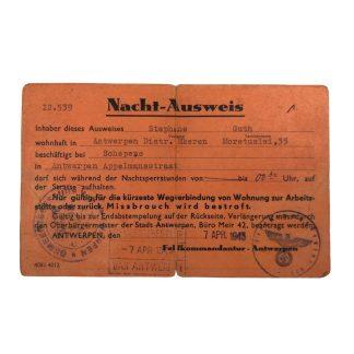 Original WWII German Nacht-Ausweis Antwerp (Belgium)