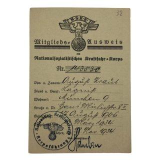 Original WWII German NSKK Mitglieds Ausweis