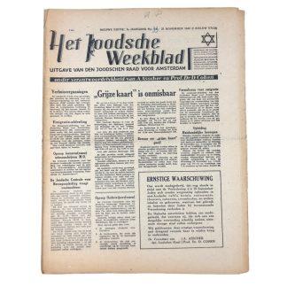 Original WWII Dutch Jewish newspaper 'Het Joodsche Weekblad' No. 34 – 21 November 1941 Origineel WWII Nederlands 'Het Joodsche Weekblad' No. 34 – 21 november 1941