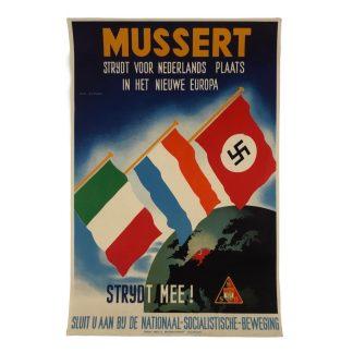Original WWII Dutch NSB recruiting poster 'Mussert – Nieuwe plaats in Europa'