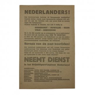 Original WWII Dutch Waffen-SS recruitment flyer 'Freiwillige Legion Niederlande'