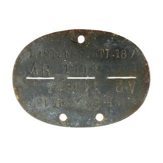 Original WWII German Erkennungsmarke 1. Infanterie-Ersatz-Battalion 187 Originele WWII Duitse WH erkennungsmarke 1. Infanterie-Ersatz-Battalion 187