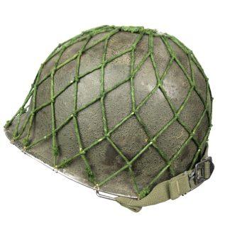 Original WWII US M1 swivel bale front seam helmet with netting