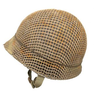 Original WWII US M1 swivel bale front seam helmet with netting (untouched)