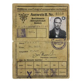 Original WWII German Ausweis belonged to a Dutchman in Hamburg