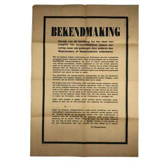 Original WWII Dutch announcement poster 1945