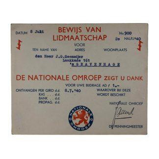 Original WWII Dutch NSB national broadcast membership card