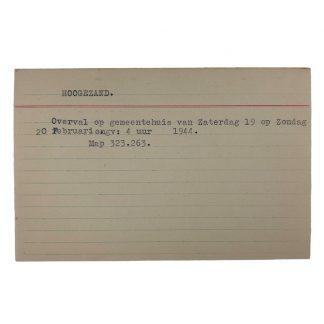 Original WWII Dutch NSB archive card Hoogezand