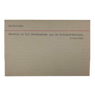 Original WWII Dutch NSB archive card Rotterdam