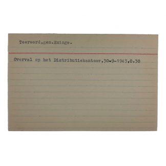 Original WWII Dutch NSB archive card Teerwerd (Gemeente Emzinge)