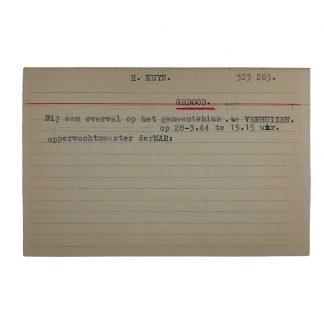 Original WWII Dutch NSB archive card Venhuizen