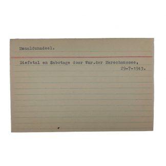 Original WWII Dutch NSB archive card Menaldumadeel