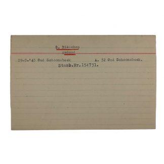 Original WWII Dutch NSB archive card Oud Schoonebeek