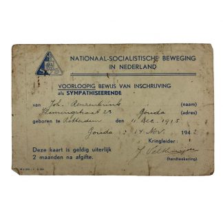 Original WWII Dutch NSB temporary card for NSB sympathizers