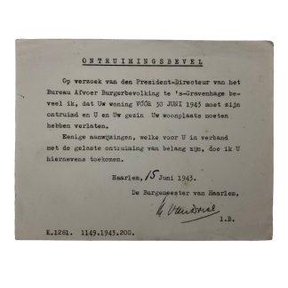 Original WWII Dutch evacuation order document Den Haag 1942 Origineel WWII Nederlands ontruimingsbevel document Den Haag