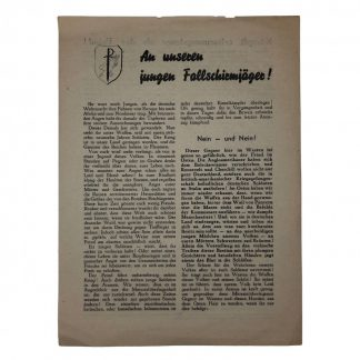 Original WWII German Fallschirmjäger leaflet Originele WWII Duitse Fallschirmjäger flyer