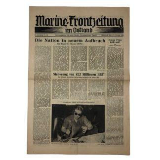 Original WWII German 'Marine-Frontzeitung im Ostland' 1943 Originele WWII Duitse krant 'Marine-Frontzeitung im Ostland' 1943
