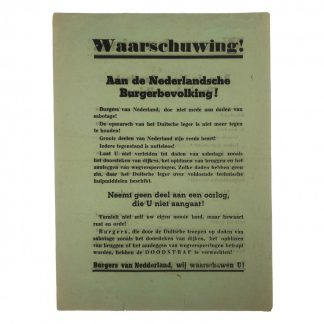 Original WWII German leaflet for the invasion of Holland May 1940 Originele WWII Duitse flyer voor de invasie van Nederland mei 1940