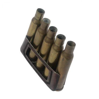 Original Pré 1940 Dutch M.95 clip with cases (empty) Originele Pré 1940 Nederlandse M.95 clip met hulzen