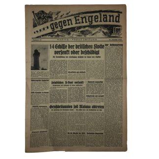 Original WWII German 'Gegen England – Marine Frontzeitung' 1941 Originele WWII Duitse krant 'Gegen England – Marine Frontzeitung' 1941