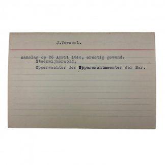 Original WWII Dutch NSB archive card Steenwijkerwold