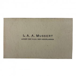 Original WWII Dutch NSB leader Anton Mussert business card