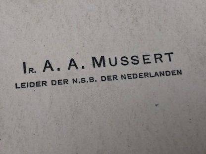Original WWII Dutch NSB leader Anton Mussert business card