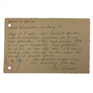 Original WWII Dutch NSB letter 'Rie Mussert' wife of NSB leader Anton Mussert