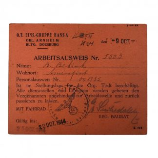 Original WWII German Ausweis Organisation Todt Arnheim & Doesburg