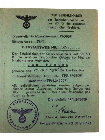 Original WWII German SD Dienstausweis belonged to a Dutchman in France