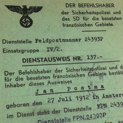 Original WWII German SD Dienstausweis belonged to a Dutchman in FranceOriginal WWII German SD Dienstausweis belonged to a Dutchman in France