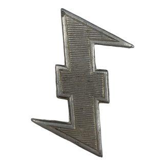 Original WWII Dutch 'Nederlandsche SS' Wolfsangel cap insignia
