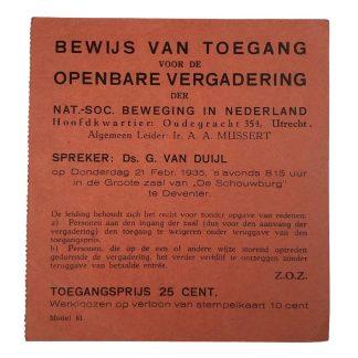 Original WWII Dutch NSB entrance ticket speech Anton Mussert in Deventer