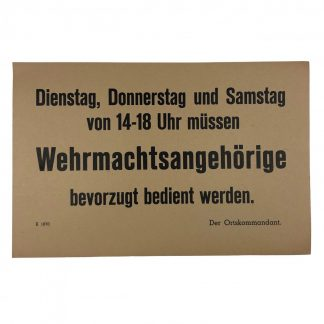 Original WWII German Wehrmacht carton sign