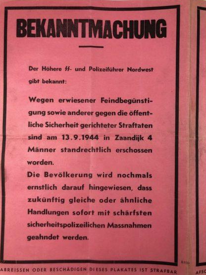 Original WWII German – Dutch announcement poster execution Zaandijk 1944