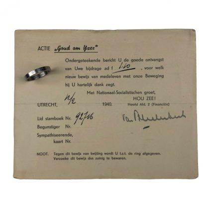 Original WWII Dutch NSB 'Goud om Yzer' ring with document