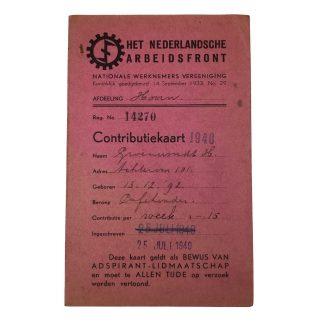 Original WWII Dutch 'Nederlandsche Arbeidsfront' contribution card