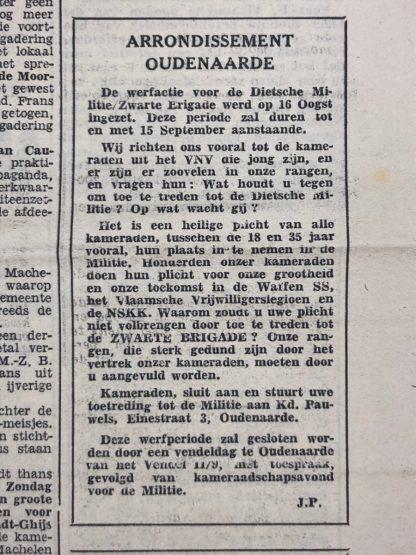 Original WWII Belgian VNV 'De Nationaalsocialist' newspaper