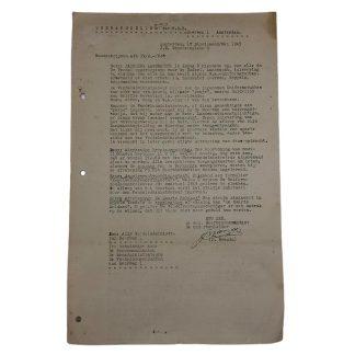 Original WWII Dutch NSB W.A. document about Landwacht uniforms Hilversum